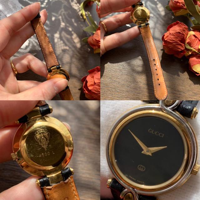 Gucci(グッチ)の【稼働品】GUCCI◆ビンテージ 黒文字盤 レディースウォッチ レディースのファッション小物(腕時計)の商品写真