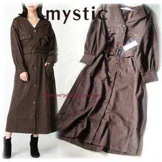 mystic - 2019AW  新品mysticミスティック ツイード風ロングワンピース  茶