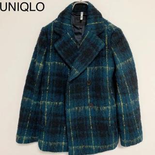 ユニクロ(UNIQLO)の☆UNIQLO Pコート グリーンチェック ウール Mサイズ(ピーコート)