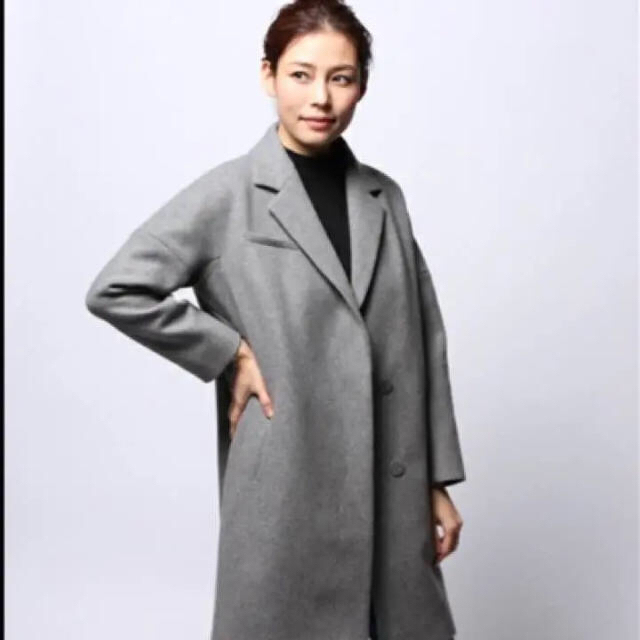 ⭐︎カシミア混メルトンチェスターコート⭐︎美品 レディースのジャケット/アウター(チェスターコート)の商品写真