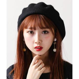 ウィゴー(WEGO)のベレー帽 wego ブラック(ハンチング/ベレー帽)