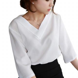 XLホワイト 七分 七分袖 カットソー フォーマル シャツ ブラウス レディース(シャツ/ブラウス(長袖/七分))
