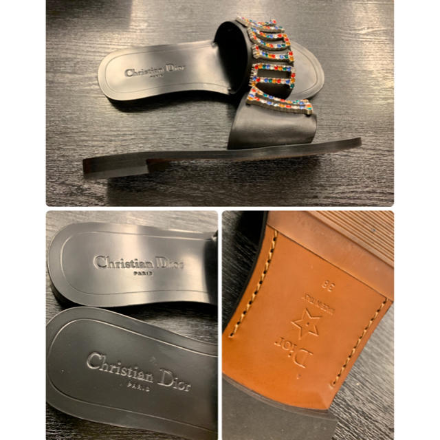 Christian Dior(クリスチャンディオール)の1回使用¥10万品/即完売★クリスチャンディオール★ロゴ フラット サンダル 箱 レディースの靴/シューズ(サンダル)の商品写真