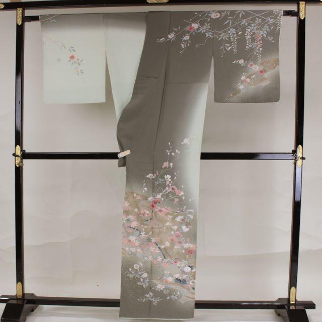 AC2197 訪問着 162㎝ 緑青染分け古典草花 レディースの水着/浴衣(着物)の商品写真