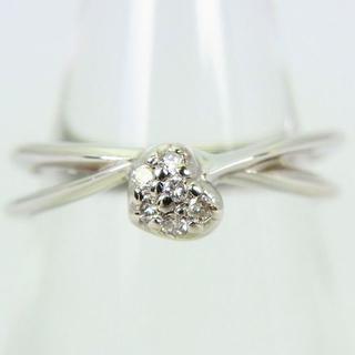 K18WG ダイヤモンド ハート ピンキー リング 3号 [g101-8](リング(指輪))