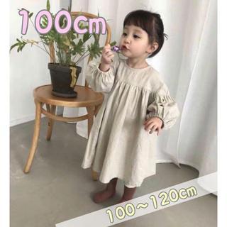 子供服♡ベージュカラー ワンピース♡100(ワンピース)