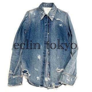 Calvin Klein - カルバンクライン ラフシモンズ デストロイ ダメージ デニム シャツ E1440