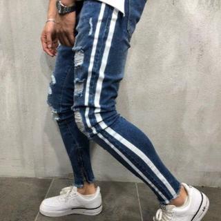 サイズが選べる ダメージデニム ネイビー ブルー 紺 青 ダメージジーンズ ジー