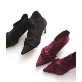 オゥバニスター(AU BANNISTER)のAu BANNISTER リボン ボルドー  ブーツ 美品(ブーツ)