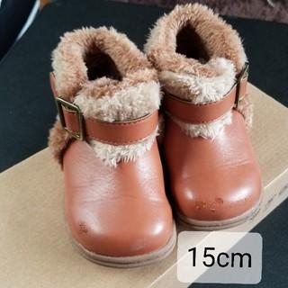 子ども用 キッズ ショートブーツ 15cm 可愛い ボア ブラウン 茶色