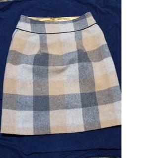 ベルメゾン(ベルメゾン)のブロックチエックスカート☆ウールスカート(ミニスカート)