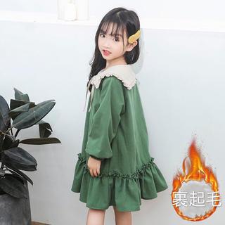 KWBA036秋冬子供服キッズ 綿 裏起毛厚手 ワンピース(3色110-150)(ワンピース)