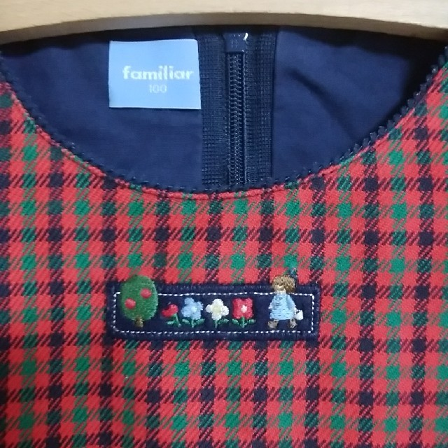 familiar(ファミリア)のfamiliar♡100赤紺緑チェックワンピース キッズ/ベビー/マタニティのキッズ服 女の子用(90cm~)(ワンピース)の商品写真