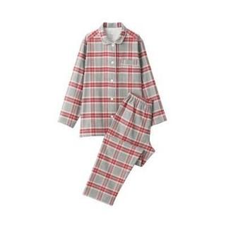 MUJI (無印良品) - 脇に縫い目のないフランネルパジャマ 婦S・グレー×柄