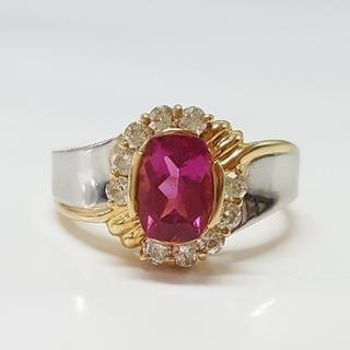 天然ルベライトとダイヤモンドのリング(リング(指輪))
