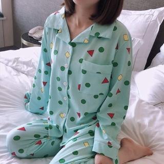 クレヨンしんちゃん【長袖】パジャマ クレしん 3点セット ブルー XL(パジャマ)