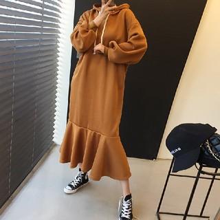 TODAYFUL - 4カラー 秋冬レトロ 肥厚 フード付き ワンピース フィッシュテール スカート