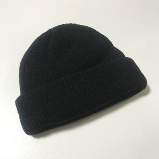無地 ニット帽 黒