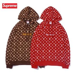 Supreme - ☆人気☆ LV&SUP カッコいい フード付き ロゴ 刺繍 男女兼用 パーカー