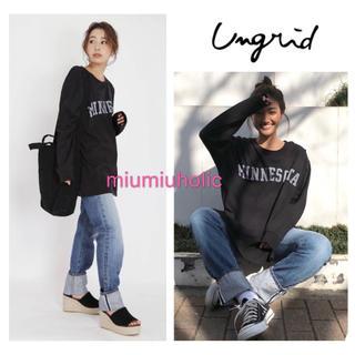 Ungrid - 新品定価¥5390‼️ Ungrid ロゴプリントロングスリーブTee Tシャツ