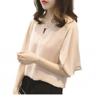 XL ピンク ブラウス シフォン フォーマル 通勤 オフィス ゆったり おしゃれ(シャツ/ブラウス(半袖/袖なし))
