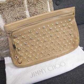 JIMMY CHOO - 正規品☆ジミーチュウ クラッチバッグ ゼナ スタッズ レザー ベージュ バッグ
