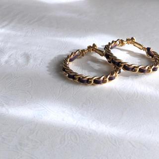 H.P.FRANCE - vintage hoop earrings アンティーク 編み込み イヤリング