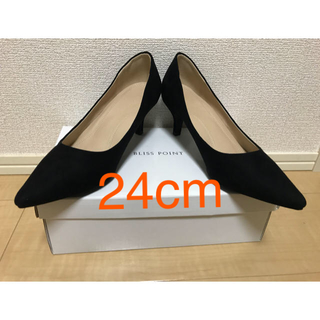 DIANA - BLISS POINT 新品 黒 スエード パンプス ヒール5cm 24cm