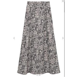 Lily Brown - ツートン植物柄ロングスカート