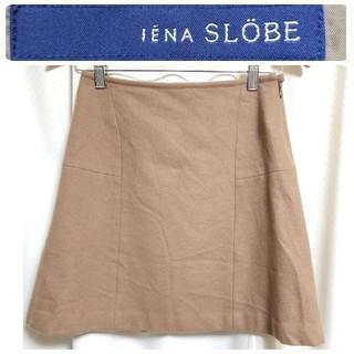 イエナスローブ(IENA SLOBE)のイエナ スローブ ブラウン ウール素材の台形スカート 36(Sサイズ)(ミニスカート)