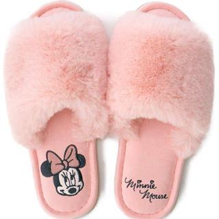 Disney - ミニー ルームシューズ スリッパ ファースリッパ もこもこ ふわふわ ピンク