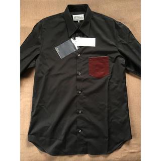 Maison Martin Margiela - 黒43新品 メゾンマルジェラ ポプリン パッチ 長袖シャツ