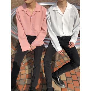 韓国系 オープンカラーシャツ ピンク ホワイト ベージュ