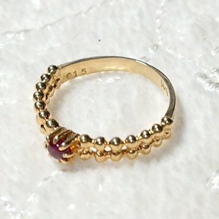 K18 イエローゴールドリング✨赤色石☆2.0g☆0.15ct.✨7~8号 (リング(指輪))