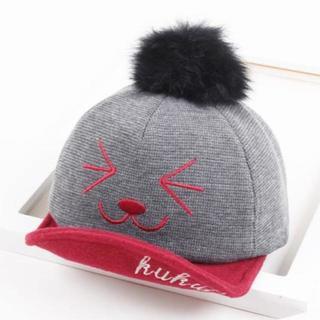 【グレー】キッズ 子供用 帽子 つばの角度変えれます!