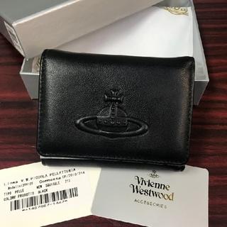 Vivienne Westwood -  ◆ヴィヴィアン・ウエストウッド  三つ折り財布 無地 ブラック