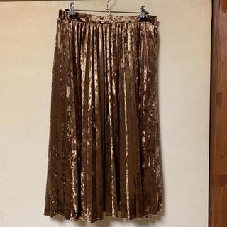 URBAN RESEARCH - アーバンリサーチ ブラウンゴールド ベルベットプリーツスカート ロングスカート