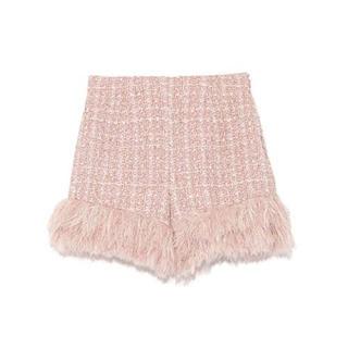 Lily Brown - リリーブラウン ツイードファーショートパンツ ピンク