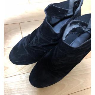 ベロア生地 ヒール付きショートブーツ(ブーツ)