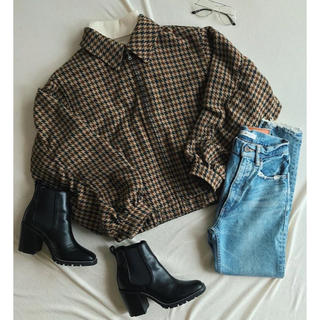 moussy - HOUNDTOOTH BOMBER ジャケット ブルゾン