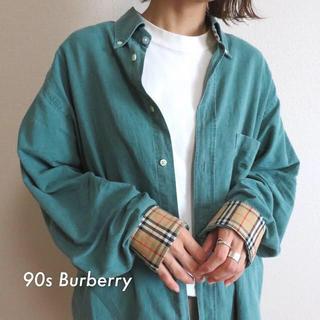 BURBERRY - 90s バーバリー 刺繍ロゴ ノバチェック シャツ グリーン 古着
