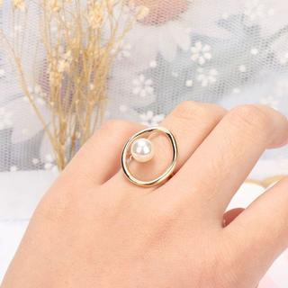 指輪 リング パール オープンサークル ゴールド アクセサリー 上品 シンプル(リング(指輪))