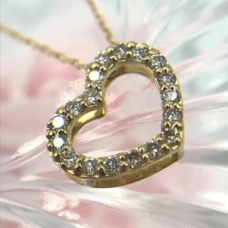 K18 ダイヤモンド D0.20ct ハート モチーフ ネックレス 40cm(ネックレス)
