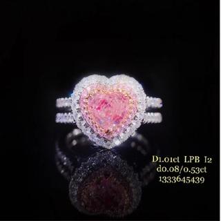 GIA♡1.01ct L.Pinkish.Brownハートダイヤモンドリング(リング(指輪))
