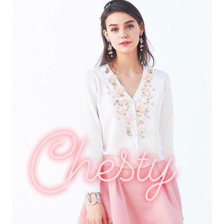 Chesty - 【新品】チェスティ  シフォン フラワーカーディガン