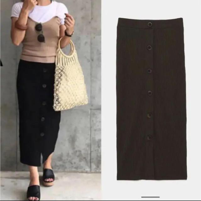 ZARA(ザラ)のZARA リブスカート ボタン付きリブ編みスカート カーキ レディースのスカート(ひざ丈スカート)の商品写真