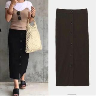 ZARA - ZARA リブスカート ボタン付きリブ編みスカート カーキ