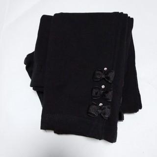 motherways - 女児レギンス120サイズ 10分丈 マザウェイズ 黒 リボン スパンコール