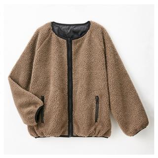 しまむら - 新品☆プチプラのあや しまむら リバーシブルボアジャケット ブラウン Lサイズ