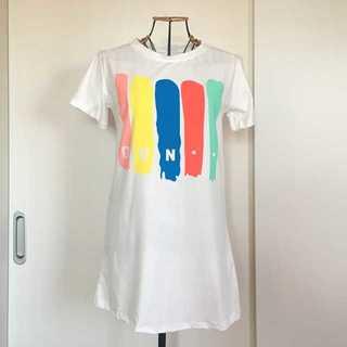 ペイント柄チュニック丈Tシャツ【Lサイズ】ラクマパック発送★(Tシャツ(半袖/袖なし))